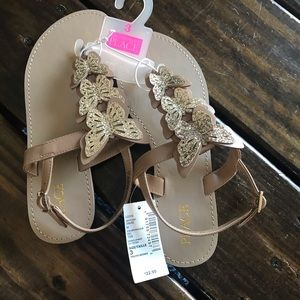 The Children's Place Gold Strappy Sandals Size 3